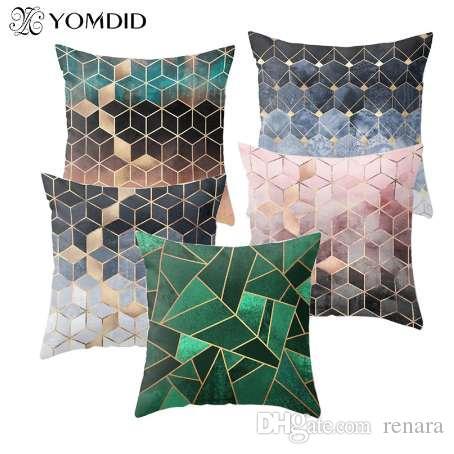 Funda de cojín geométrica 3D Gradiente Cubos Fundas de cojín de poliéster Throw Pillow Cojines decorativos Funda para sofá Coche Home Chair