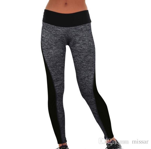 Женщины леггинсы новый Activewear черный смешанный серый сращивания панелями женщины вырезать леггинсы высокой талией леггинсы