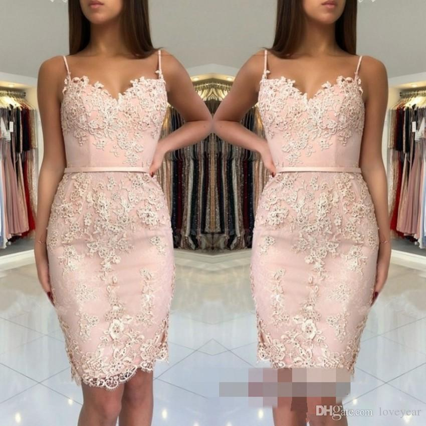 Cute Pink Mini Short Homecoming Dresses Lace Applique Sexy Spaghetti Sweet 16 Graduation Dress Cocktail Party Gowns