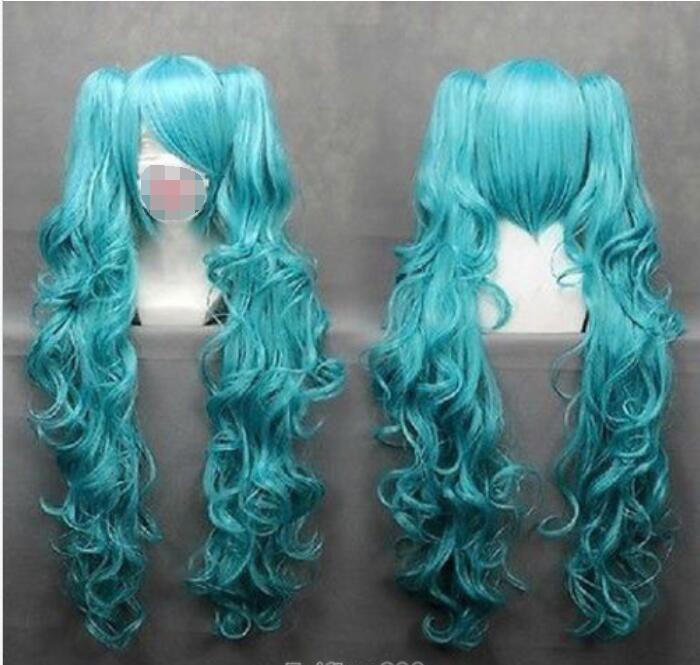 Longo VOCALOID-hatsune Miku Azul Anime Peruca Cosplay + 2 Clip On rabo de cavalo + peruca Cap