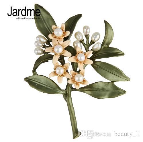 Jardme Nuovo design vintage spilla gioielli Arancione fiore Albero spille perle naturali spilla sciarpe fibbia Accessori