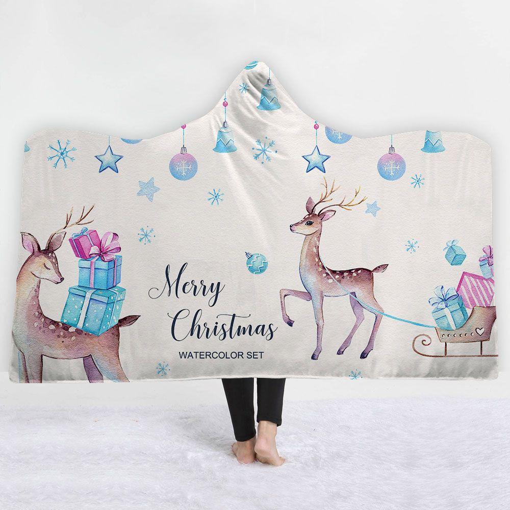 Couverture de Noël à capuche sport imprimé couverture en molleton doux de sherpa polaire couverture de capuche de softball à capuche