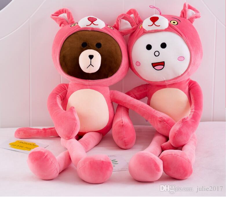 Simulation Lovely Pink Panther Rabbit Bear Short Plush Toy Stuffed Animal Plush Doll Creative Gift For Children