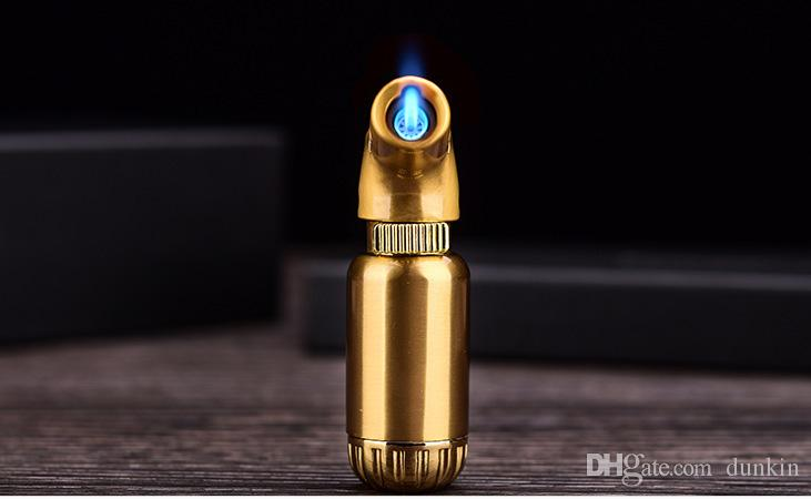 dhl металл Бутан газовая зажигалка металл сигары прикуривателя портативный многоразового струи пламени факел мазки открытый инструмент золотой серый серебро