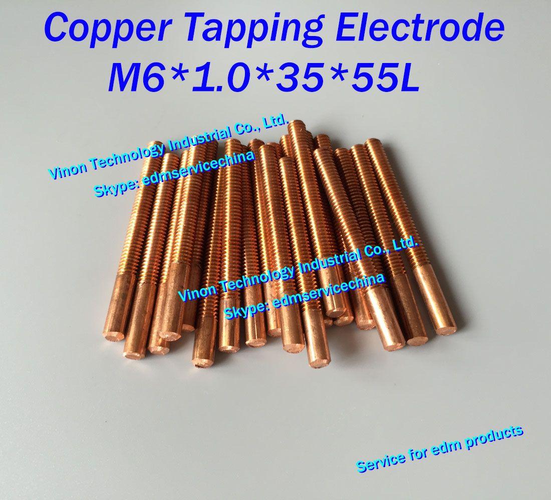(10 PC / LOT) M6X1.0x35x55mm miedzi elektrody do gwintowania orbitalnych do EDM Spark, Elektroda gwintowania miedzi M6 (wybierz bez otworu lub z otworem)