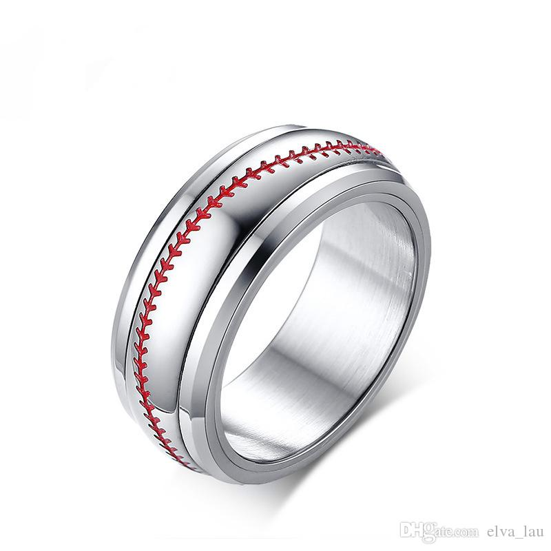 Spinner Baseball Rings for Men 8MM Stainless Steel Men's Jewelry Friendship Rings Male Boy Team Sports Accessories Ring Size 8-12