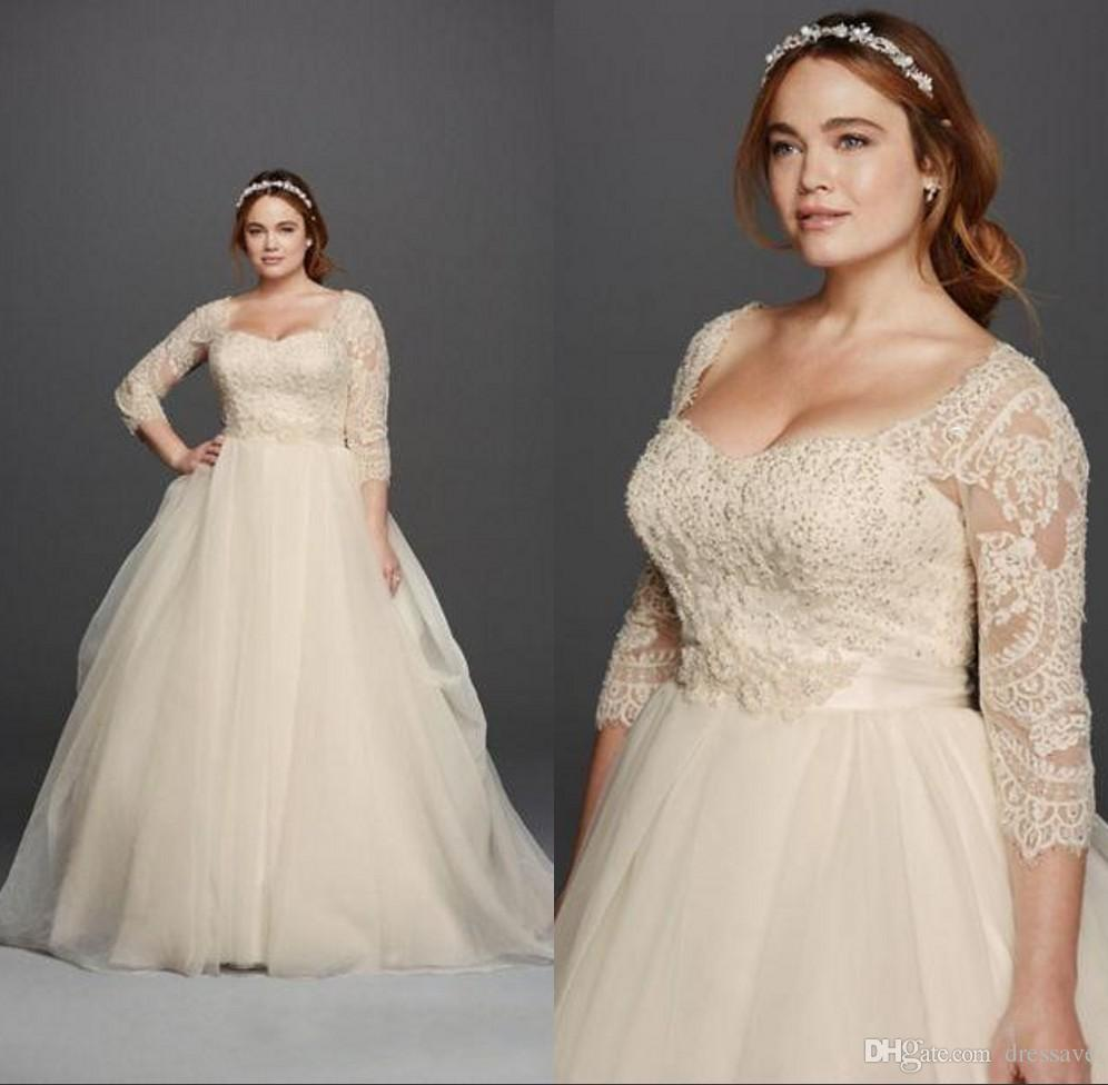 Discount Plus Size 2018 Wedding Dresses 3/4 Sleeves Lace Sweetheart Covered  Button Gloor Length Princess Fashion Bridal Gowns A Line Wedding Dresses ...