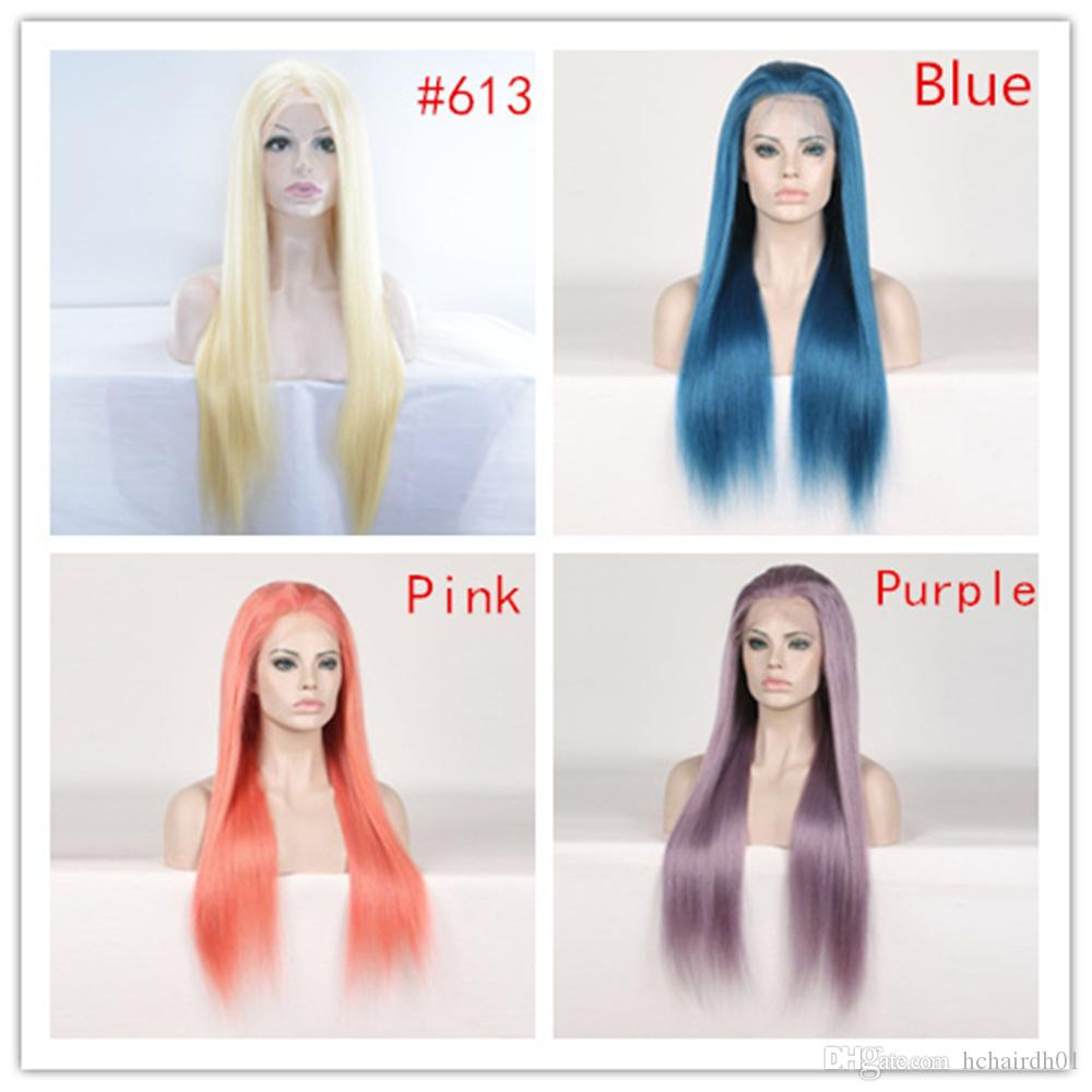 Color Lace Front Human Hair Wigs For Black Women Peruvian Wigs Remy Straight Blue Orange Purple Honey Blonde Wigs PrePlucked With Baby Hair