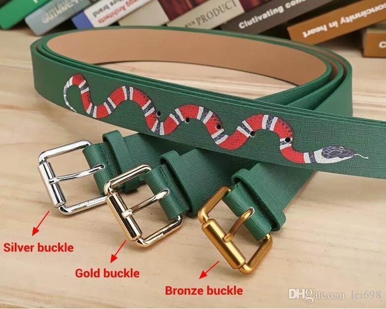Vendita calda 2019 nuovi colori verdi modello serpente Mens Cinture di alta qualità Designer Cinture per gli uomini e le donne stili cintura per il regalo 758