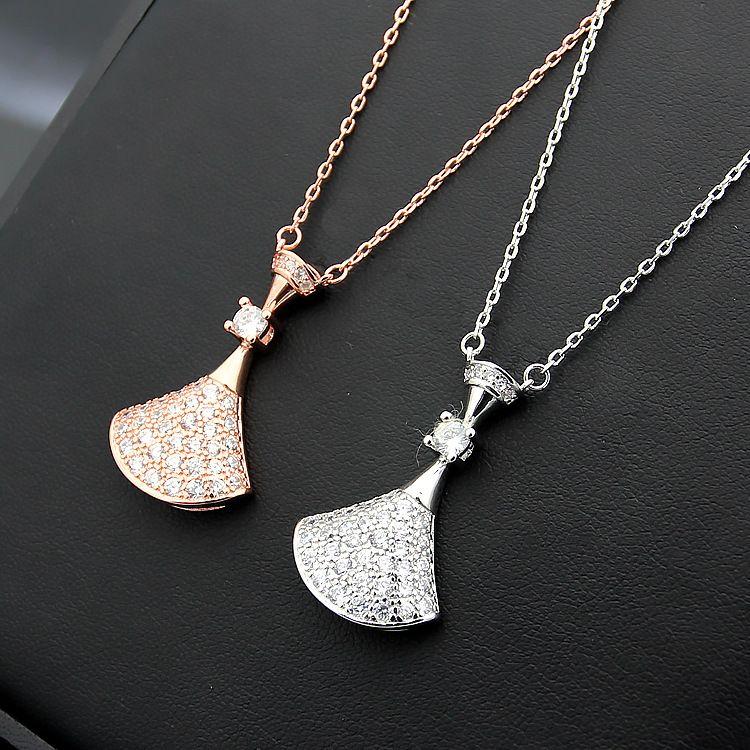 316L титановая сталь Classic B письмо, полная бриллиантовая юбка, женское ожерелье из 18-каратного розового золота с бриллиантовым колье, длина цепи 45см