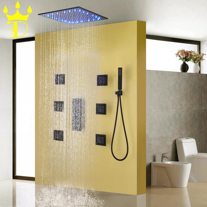 DISGOD Bath & Shower Set Accessories Temperature Sensitive LED Rainfall Shower Head Matte Frosted Blacken Bathroom Shower Faucet
