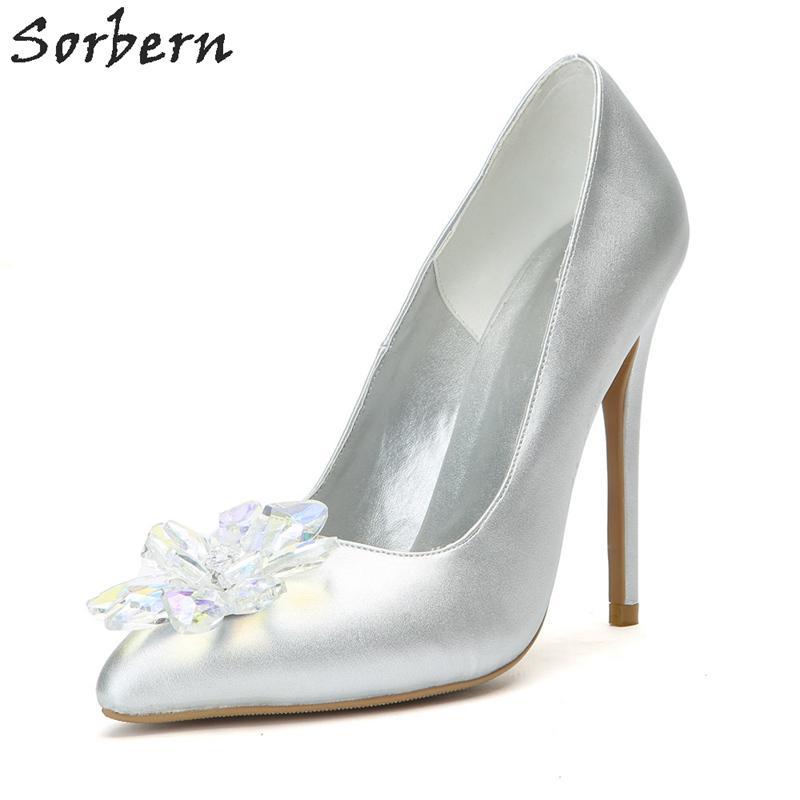 Toptan Gümüş Bayan Pompaları 2018 Üzerinde Kayma Ayakkabı Kristal Sivri Burun Parti Bayanlar Için Lüks Ayakkabı Kadın Tasarımcıları Pompaları