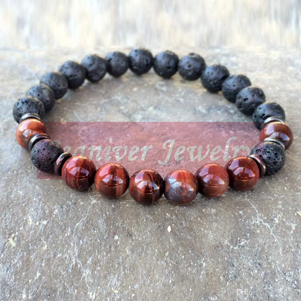 Jeaniver En vente Men`s Mala Bracelet énergisante Red Tiger Eye Bracelet naturel de haute qualité Lava Bijoux puissant Livraison gratuite