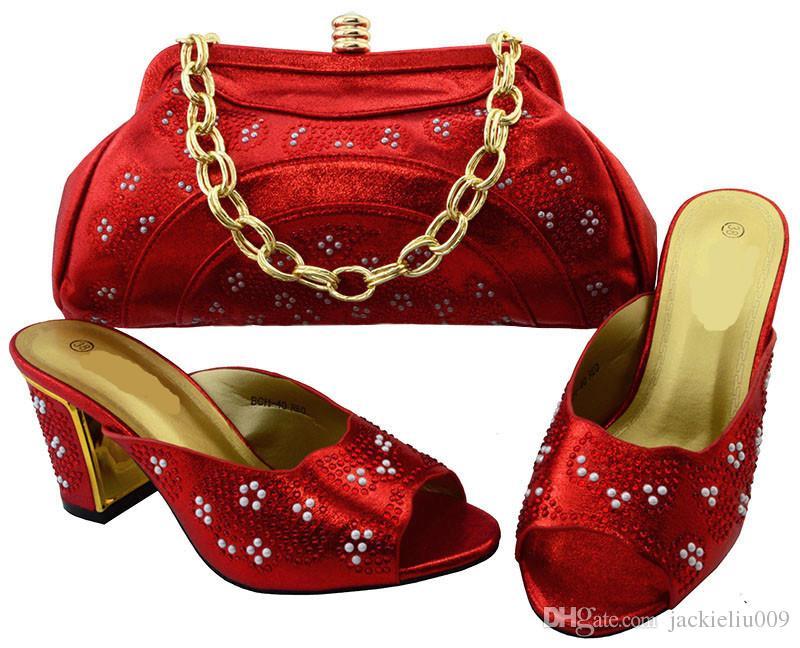 Top venda de mulheres vermelhas bombas com pedra e saco conjunto para sapatos africanos jogo bolsa combinadaBCH-40