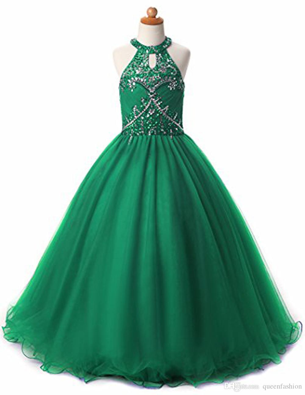 Glitz Girls Pageant Dresses Keyhole Back Crystal Beadings Halter Kids Ball Gown Prom Dress Pageant Dresses for Girls Flower Girl Dresses