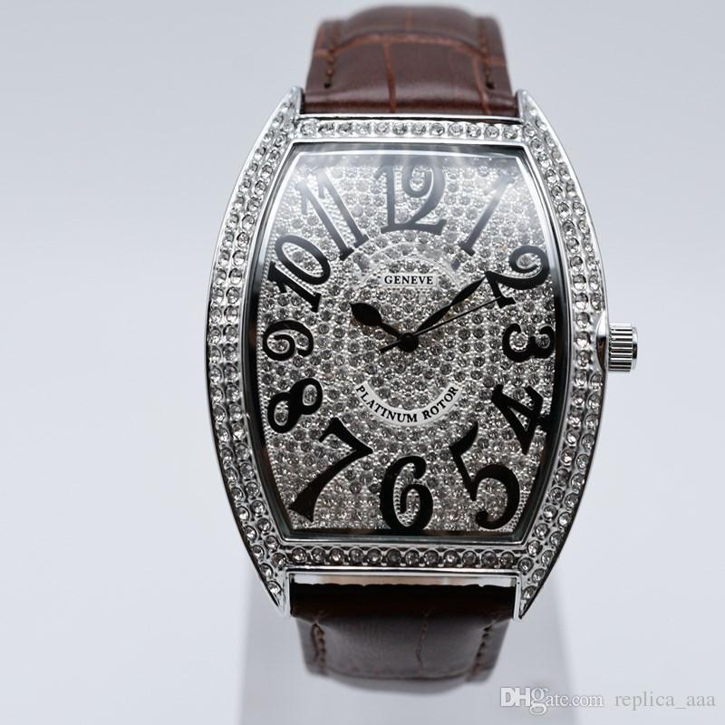 In vendita quarzo pelle pieno diamante moda uomo orologi casual analogico digitale uomini vestito designer orologio all'ingrosso regali da uomo orologio da polso