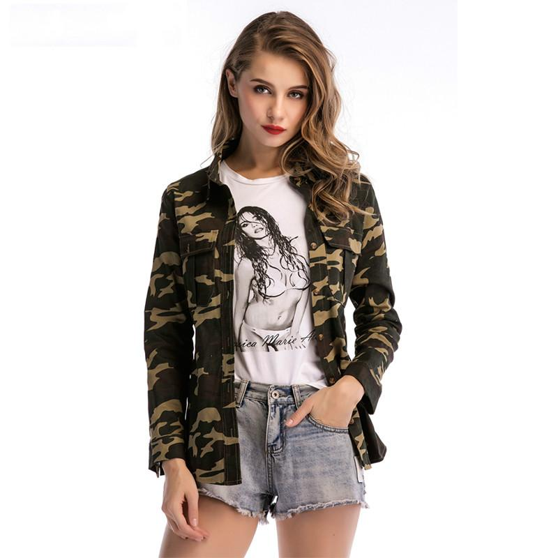 Women Long Sleeve Single-breasted Casual Green Camouflage Outer Wear Coat Jacket