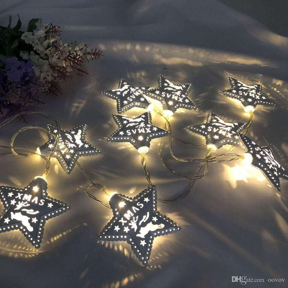 1.5M 10LED White Star Christmas Festival Light String Christmas Tree Pendant Indoor Outdoor Waterproof Decoration Lantern
