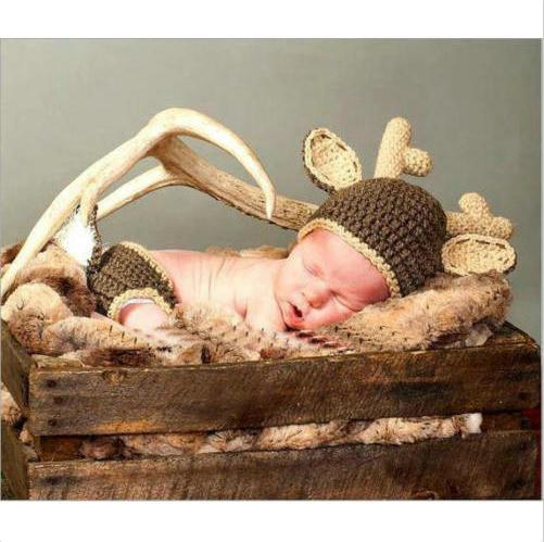 Newborn Baby Girl Boy Crochet Knit Costume Photography Prop kId Outfit Xmas Deer