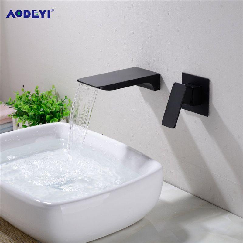 벽에 장착 된 목욕 수세식 무광 검은 색 싱크 구리 폭포 탭 주방 분지 믹서 놋쇠 은폐 밸브 대폭 확대 된 hotcold