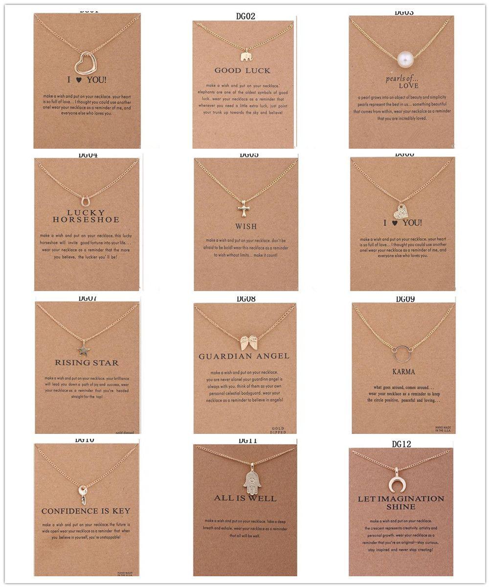 12 Styles Dogeared Ras Du Cou Colliers Avec Carte Or Cercle Éléphant Perle Amour Ailes Croix Clé Pendentif Collier Pour Bijoux De Mode