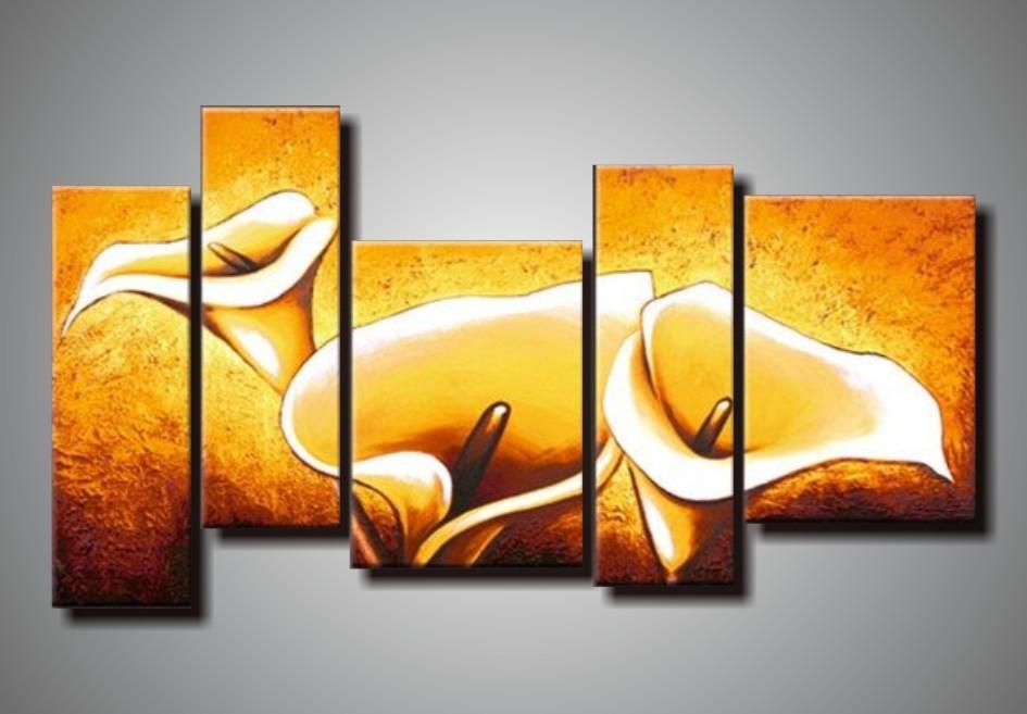 100% hand painted discount 5 pieces wall panels modern abstract lily flower oil painting canvas acrylic painting on canvas art nature painti