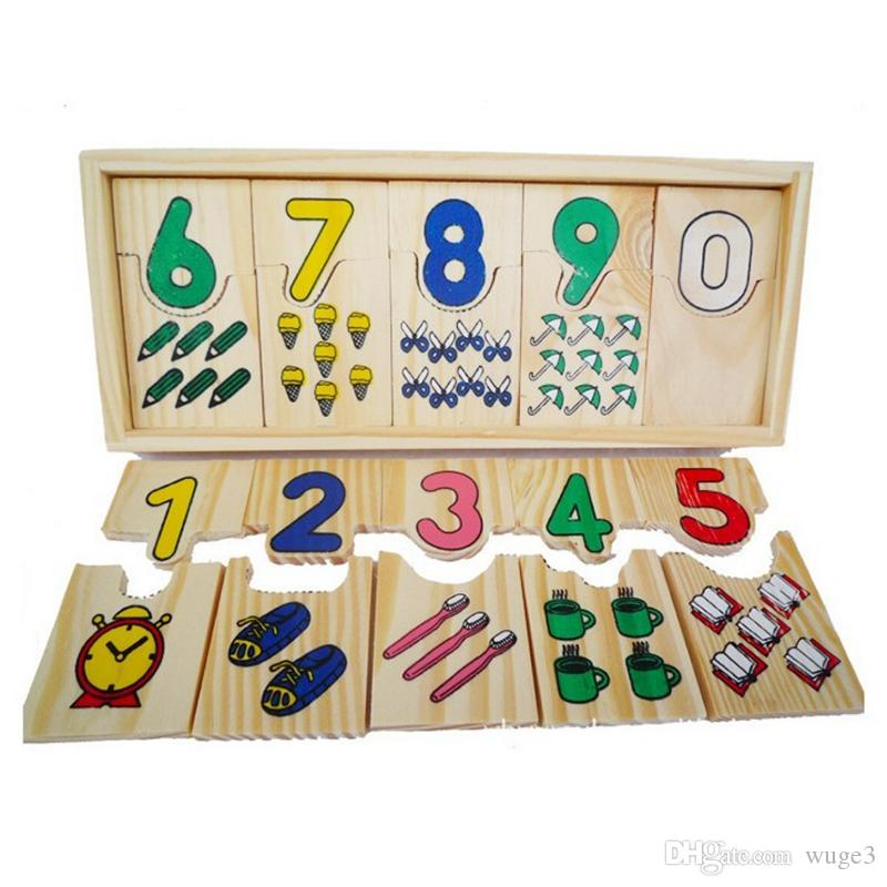 Montessori Game Kids Math Toys Wooden Childhood Teaching Logarithmic Matching Plate Board Digital Educational Puzzle Toys Gifts