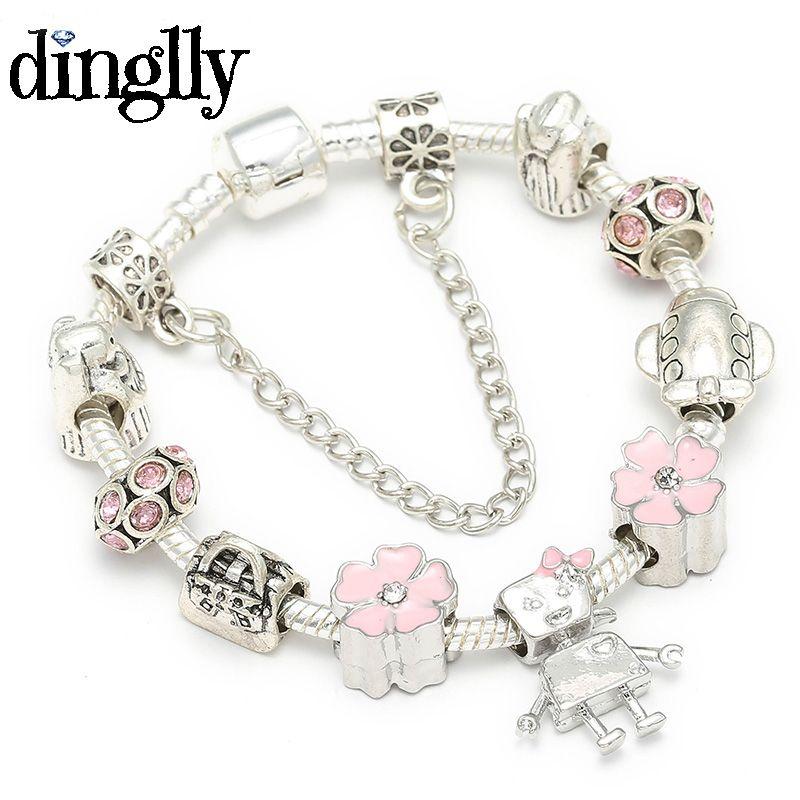 Acheter DINGLLY Chanceux Belle Petite Fille Bracelet De Charme Robot Pour  Femmes Pandora Bracelet Damitié DIY Bijoux Pour Cadeaux De 6,6 € Du Ck10 |  ...