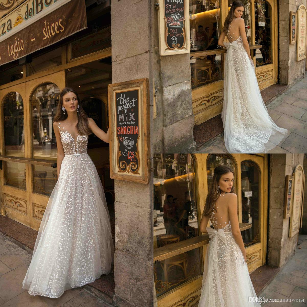 Berta 2019 Свадебные платья из тюля с V-образным вырезом и кружевной аппликацией Boho Праздничные свадебные платья A Line Robe De Marie