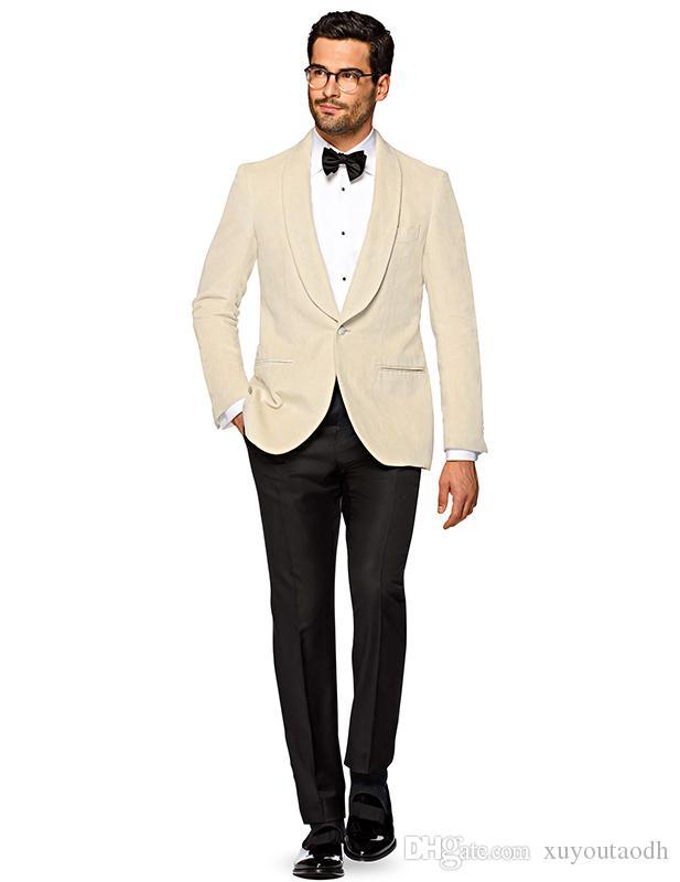 DHL Ücretsiz Custom Made 2018 Erkekler Bej Düğün Takımları Damat Şal Yaka Yakışıklı İyi Adam Slim Fit Damat Balo Smokin (Ceket + Pantolon)