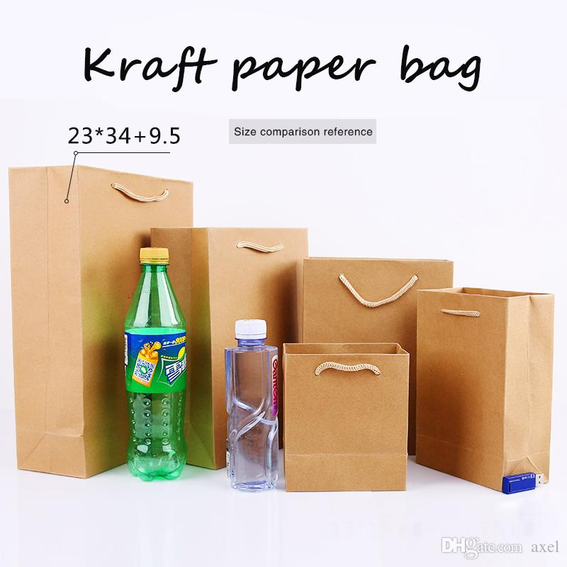 23*34cm+9.5cm Portable Thicken solid Kraft paper Custom-made clothing gift shopping package Takeaway Corporate advertising Standing bag