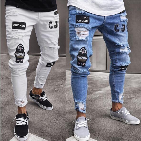 Compre Hommes Rasgada Del Diseno Del Bordado De Los Pantalones Vaqueros Para Hombre Delgado Motorista Jeans Largo Lapiz De Los Pantalones Pantalones De Mezclilla Hombre Streetwear Hip Hop Jeans Gastados A 18 17