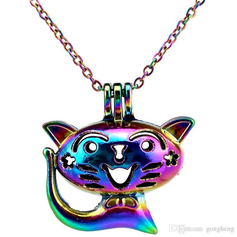 C758 Rainbow Color Cute Smile Cat Beads Ciondolo gabbia olio essenziale diffusore Aromaterapia collana gabbia perla pendente medaglione