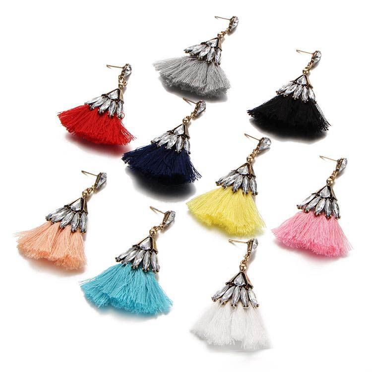 Vintage boucles d'oreilles pompon 9 couleurs lustres boucles d'oreilles pour les femmes nouvelle arrivée strass cristal gland bohème boucle d'oreille