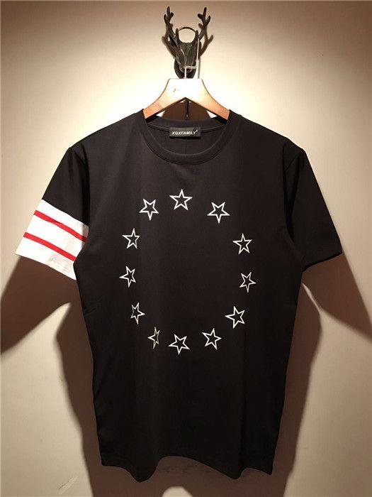 Summer Fashion T Mens 2018 New Mens Brand Shirt Color Stripe Stars STAREVE T Shirts Ropa Impresión corta Casual Contraste Top Tee Jikmi