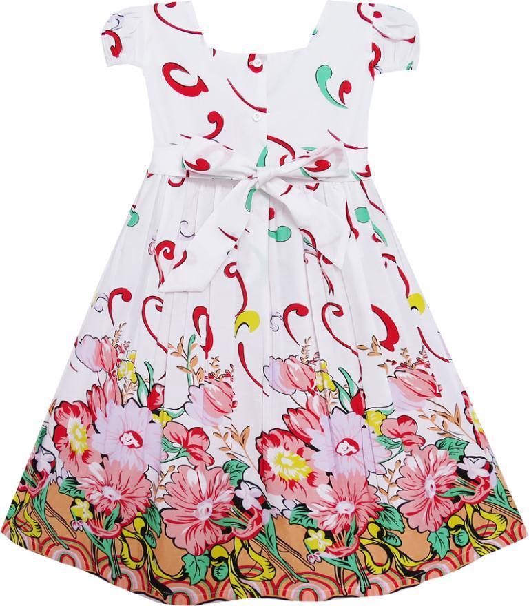 Sunny Fashion Girls Dress Pink Flower Short Sleeve Party Birthday Kids Cotton 2018 Summer Princess Wedding Dresses Size 2-10
