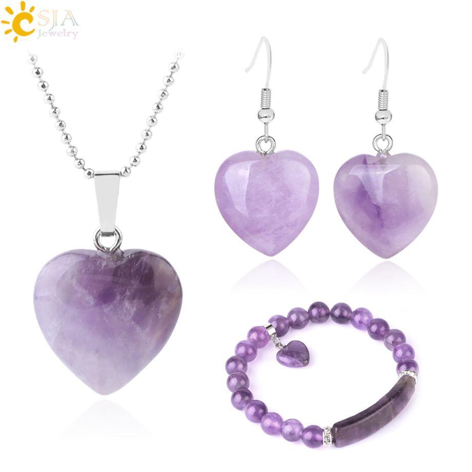 CSJA Women Love Heart Jewelry Set Natural Stone Amethyst Gemstone Wedding Jewellery Beaded Bracelet Dangle Earring Statement Necklace F640
