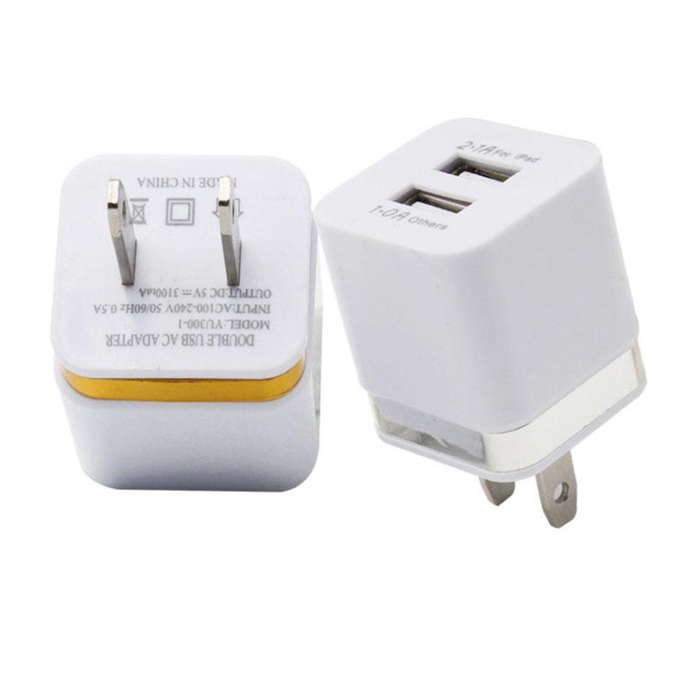 For IPhone Wall Charger Adapter Double USB Mobile Phone Charging Adapter 5V  2.1A Universal Home Charger For Cellphones Without Packaging Charging Cell