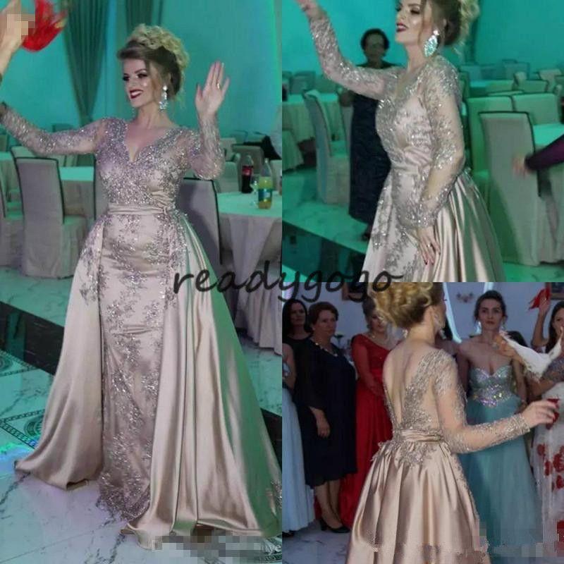 Elie Saab Dubai Long Sleeve Evening Dresses Detachable Train Nigeria Lace Appliques Mermaid Prom Dresses 2018 Long Robes Africaines Gowns