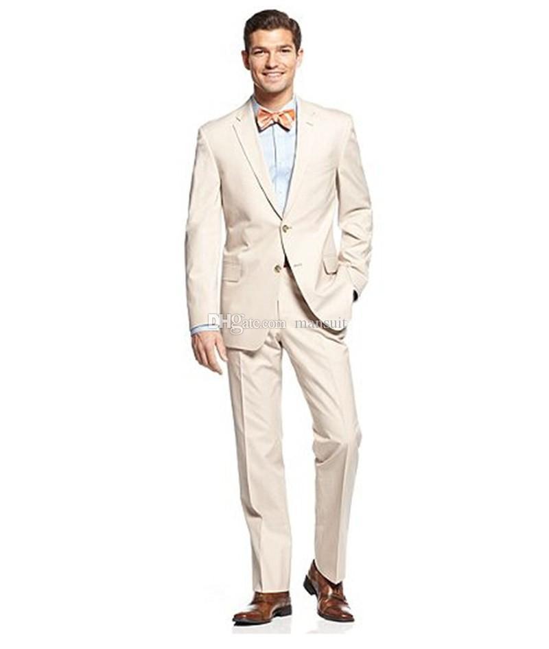 Vente chaude garçons d'honneur Notch revers marié Tuxedos Beige Hommes Costumes Mariage / Prom Meilleur Homme Blazer / Marié (Veste + Pantalon + Noeud papillon) M390