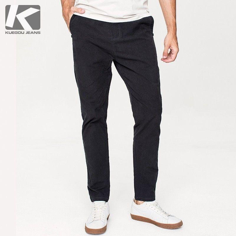 Autunno Pantaloni casual da uomo in cotone nero tinta unita Tasca per uomo Moda Slim Fit 2018 Nuovo uomo indossare pantaloni lunghi dritti 9750
