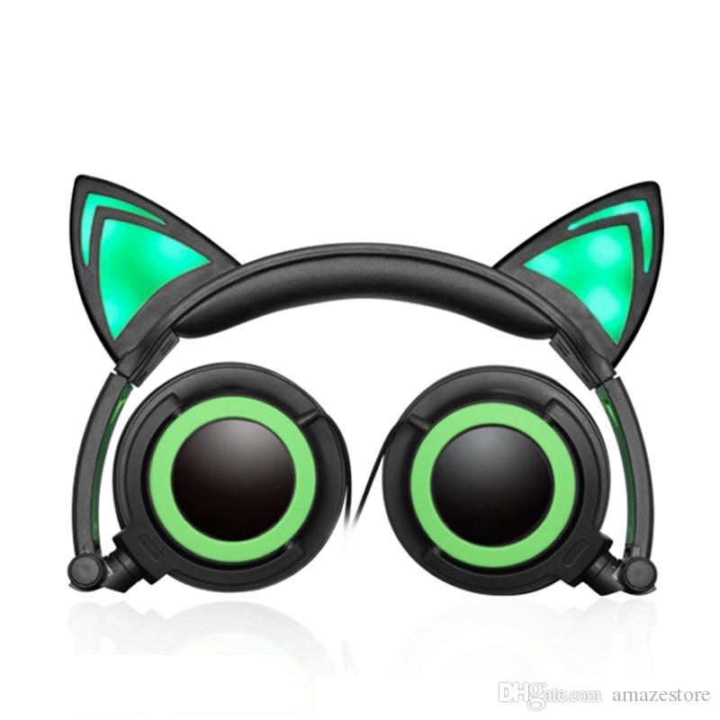 LED Cat Ear Headphones Earphones Casque Audio Luminous Foldable Wired Headband Cute Gaming Headset For PC Mobile Phone