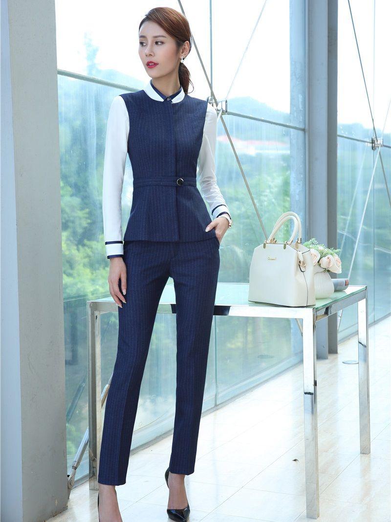 Resmi Kadınlar İş Takım Elbise ile Iki Parçalı Pantolon ve Yelek Yelek Üst Setleri Mavi Bayanlar Ofis Üniforma Tasarımları Pantsuits