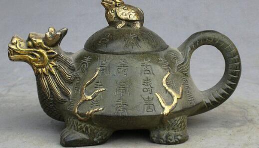 "5 ""Marked Folk China Bronzo dorato Dragon Turtle Tortoise Statue Teiera Wine Pot"