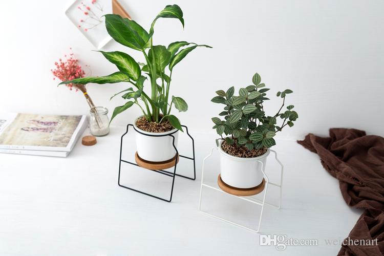 1Pcs minimalistischen Keramik Blumen Pflanzer weiß schwarz Sukkulenten Blumentopf mit Bambus Stand Eisen Metall Regal Home Decor Fairy Garden