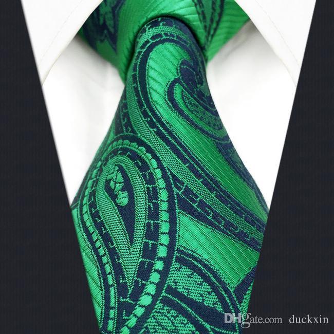 E5 Green Paisley шелковые мужские галстуки свадебные моды для мужского новинка жених аксессуар