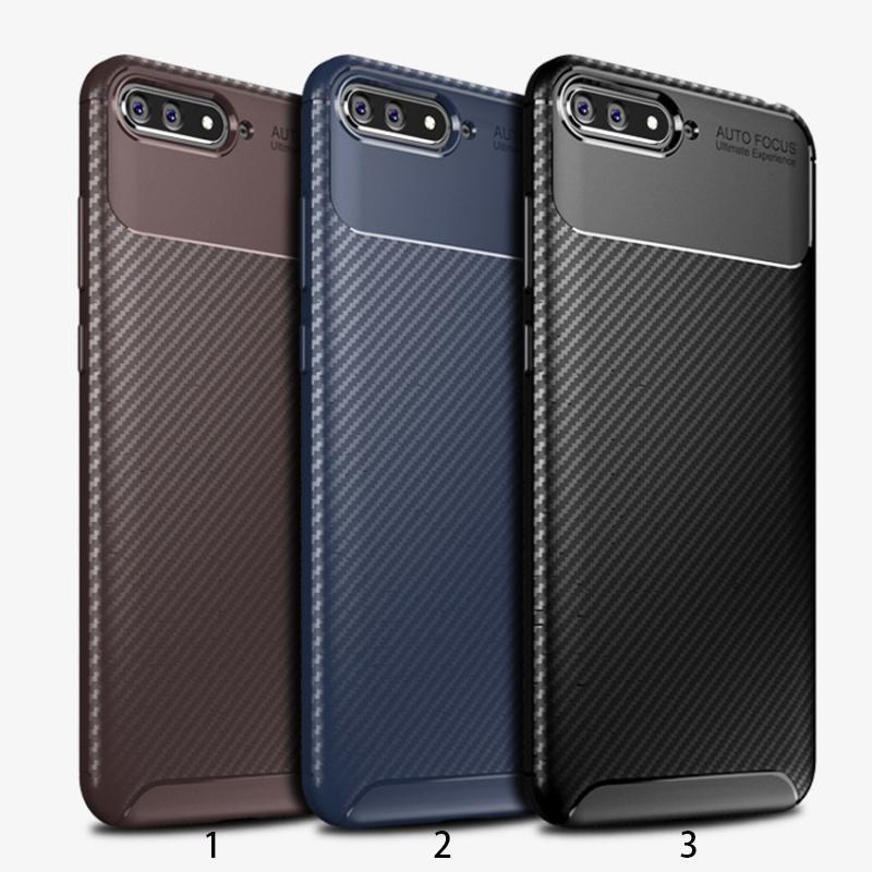 30 pz / lotto Ultra Sottile Armatura Copertura Posteriore Per Huawei Y5 Prime 2018 In Fibra di Carbonio Custodia Per Huawei Y5 2018 Y6 2018