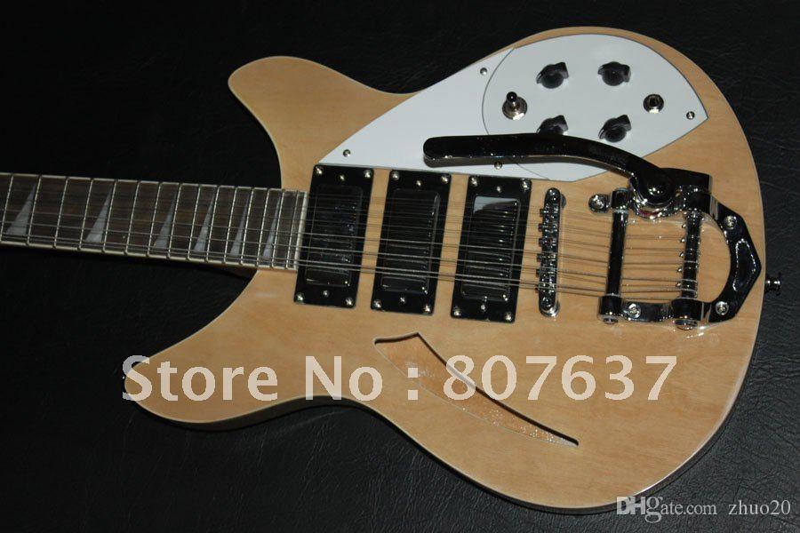 싸구려 Ric25 !! 도매 12 문자열 JAZZ 3 픽업 맞춤 자연 나무 색상 일렉트릭 기타