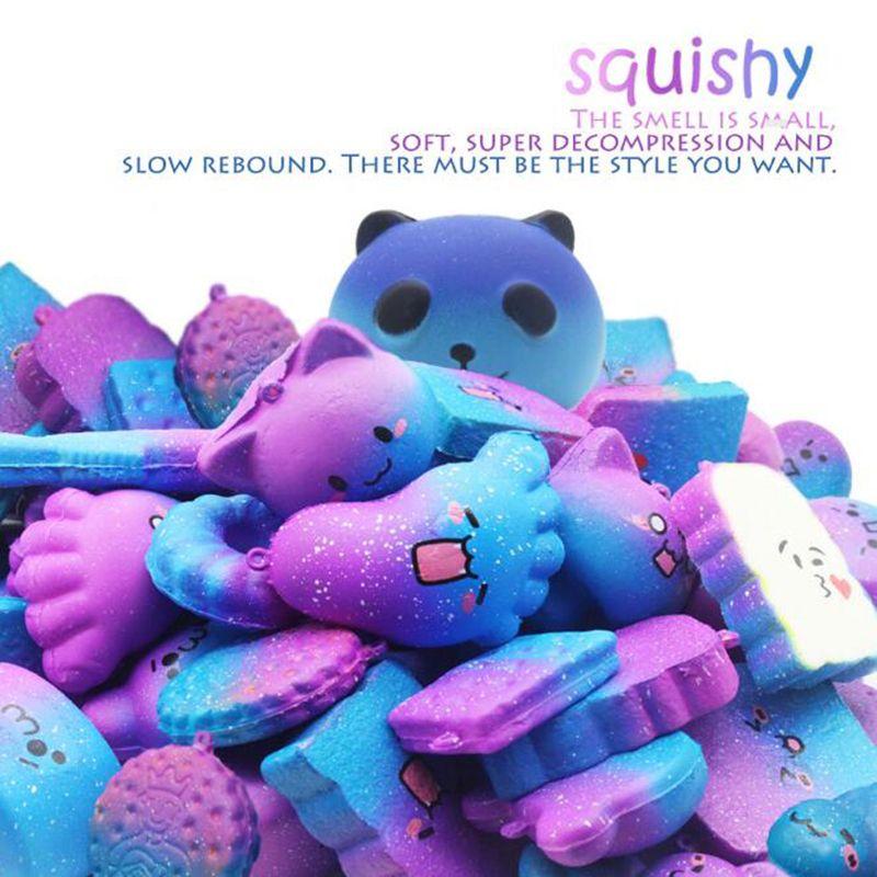 Birçok Stilleri Squishy Yıldız Gökyüzü Renk Yavaş Yükselen Ribaund PU Oyuncak Çocuk Erken Eğitici Oyuncaklar Için Simüle Şeftali