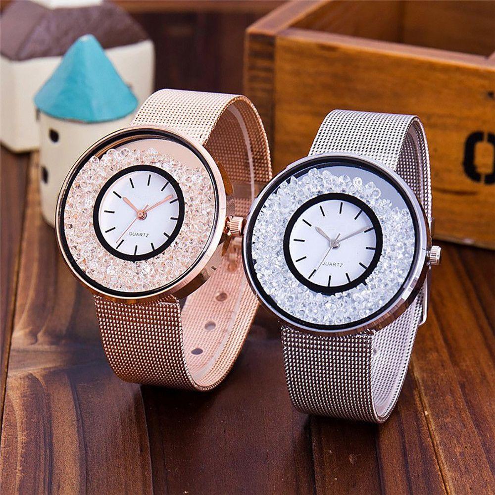السيدات الفضة الفولاذ المقاوم للصدأ كوارتز ساعة فاخرة الذهب الماس النساء ساعات ماركة اللباس ساعة اليد النساء